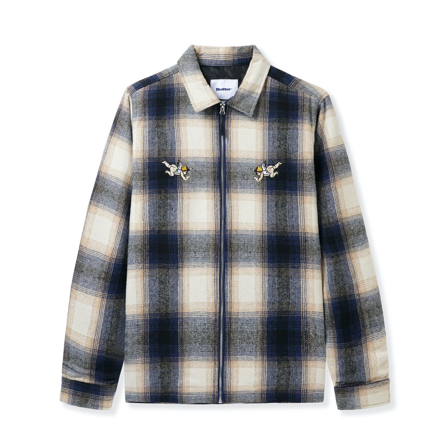 Angels Heavyweight Plaid Overshirt, Navy / Beige