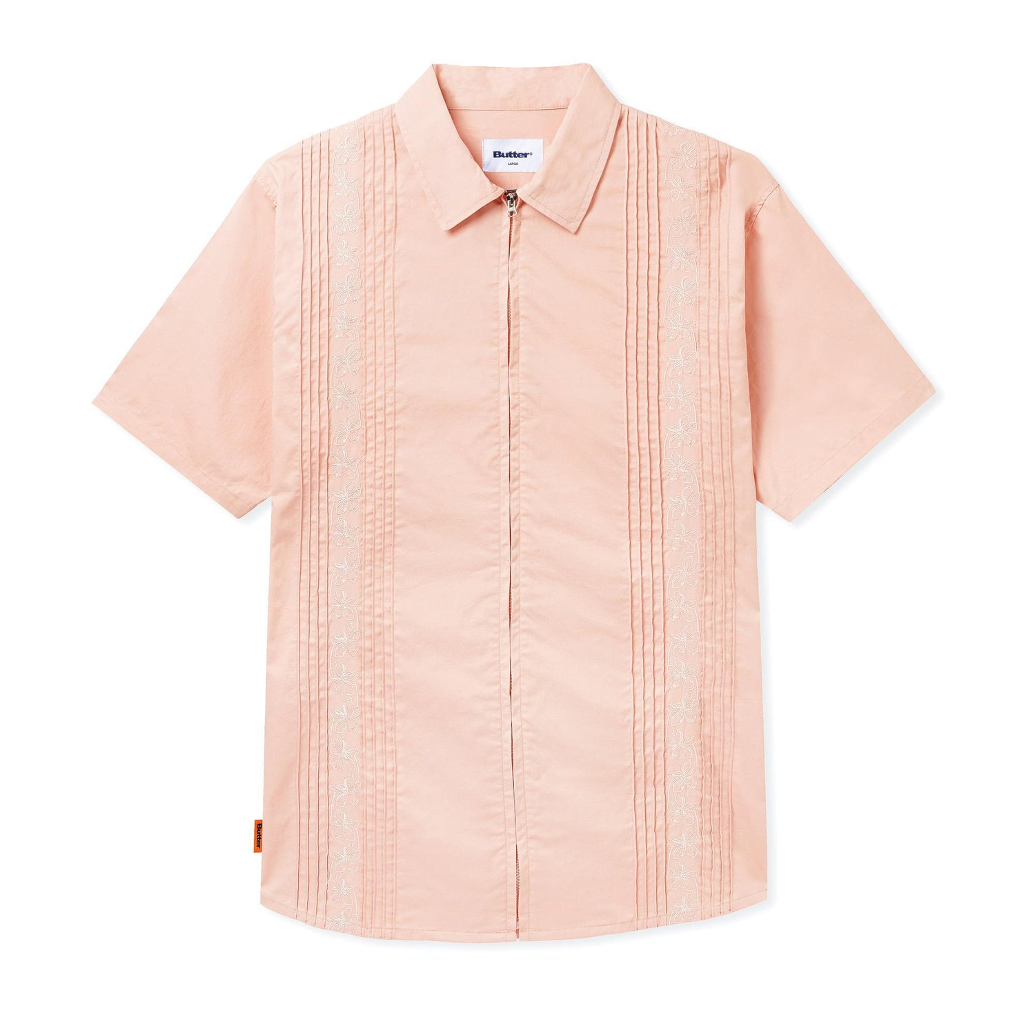 Floral S/S Zip Shirt, Peach
