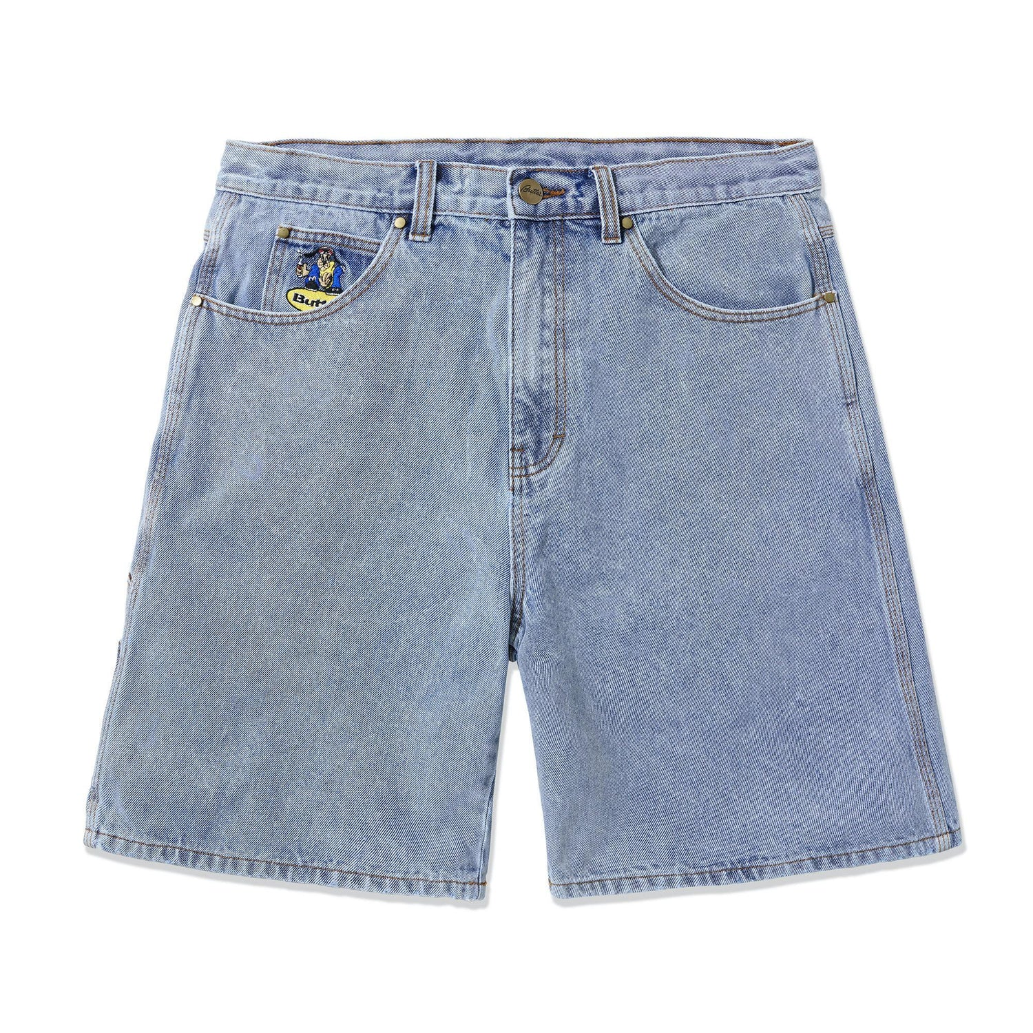 Homeboy Denim Shorts, Washed Light Blue