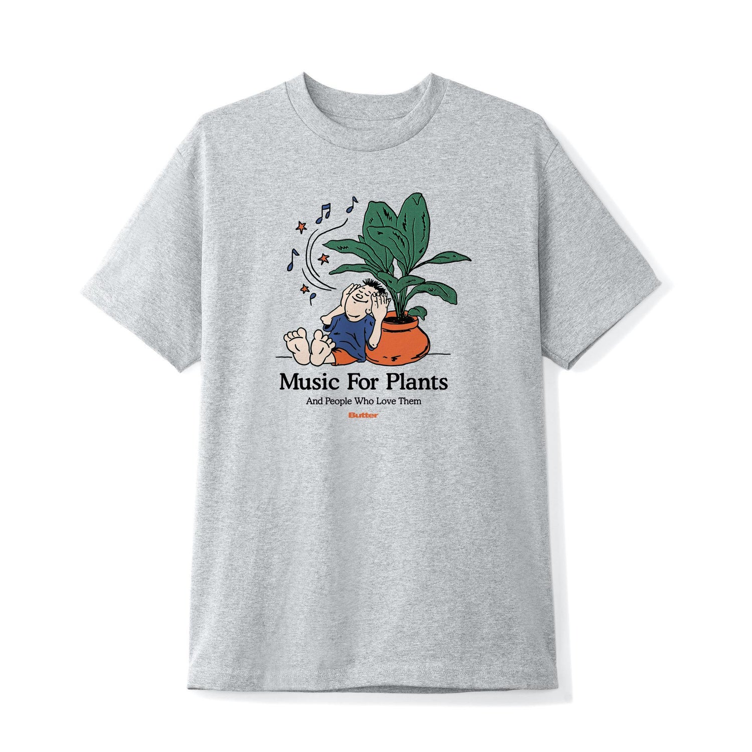Music For Plants Tee, Heather Grey