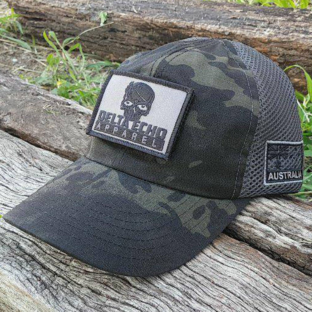 11509f92668 Dark camo mesh back cap with subdued deltaecho apparel skull patch  deltaecho apparel australian clothing company