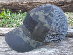 DeltaEchoApparel Cap DARK CAMO MESH BACK CAP WITH SUBDUED SKULL PATCH