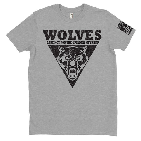 DeltaEchoApparel Shirt M / GRAY MEN'S T-SHIRT - WOLVES CARE NOT (Original)