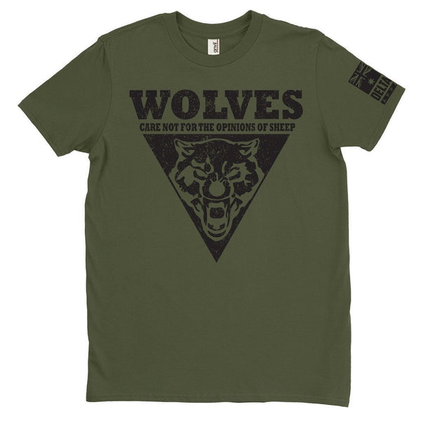 DeltaEchoApparel Shirt M / GREEN MEN'S T-SHIRT - WOLVES CARE NOT (Original)