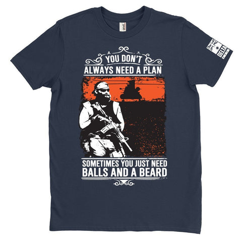 DeltaEchoApparel Shirt M / NAVY BLUE MEN'S T-SHIRT - BALLS & BEARD