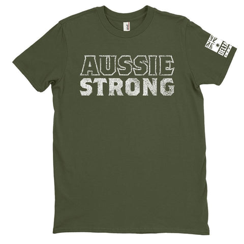 DeltaEchoApparel Shirts M / GREEN MENS T-SHIRT - AUSSIE STRONG