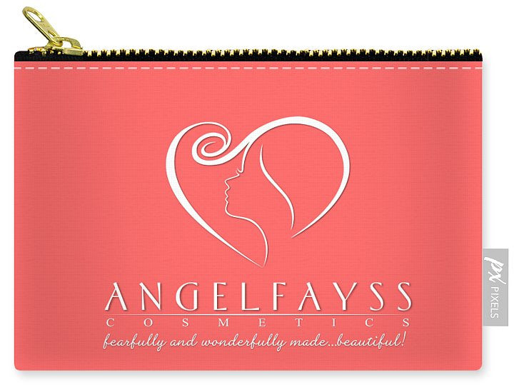 White & Coral AngelFayss Carry-All Pouch