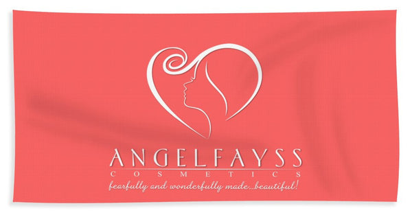 White & Coral AngelFayss Beach Towel