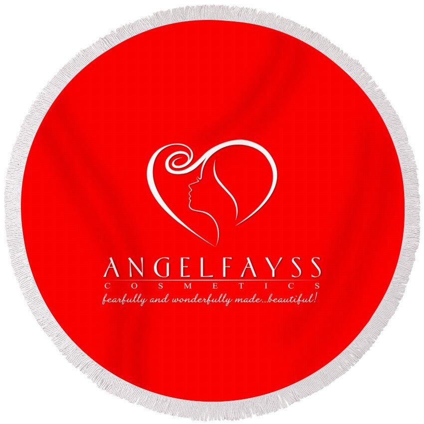 White & Red AngelFayss Round Beach Towel