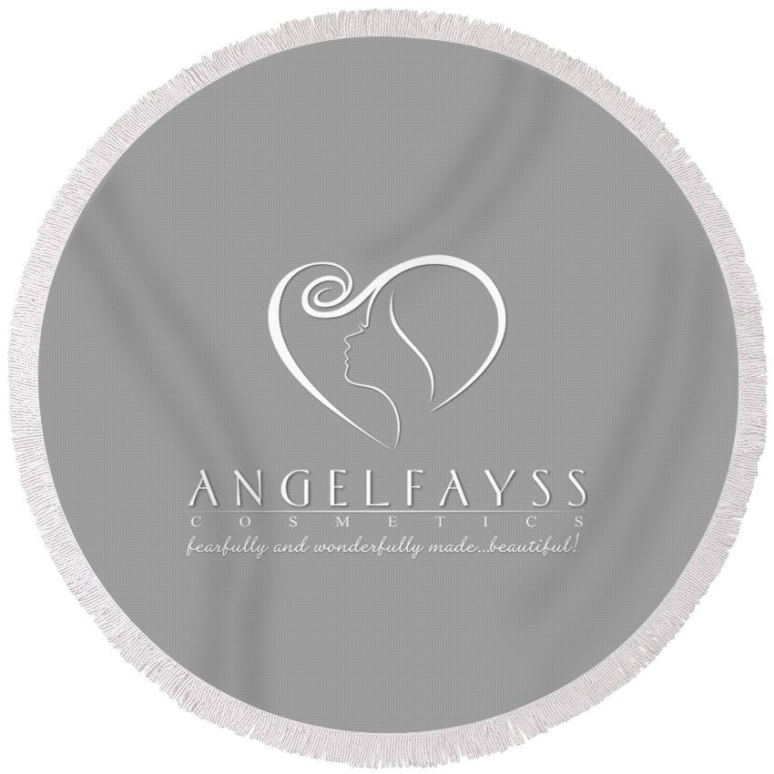 White & Grey AngelFayss Round Beach Towel
