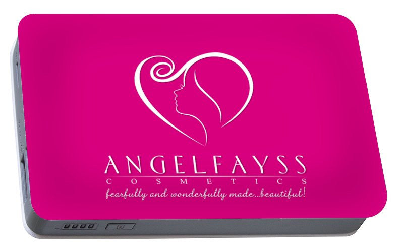White & Pink AngelFayss Portable Battery Charger