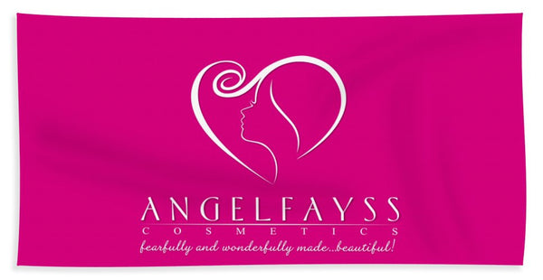 White & Pink AngelFayss Beach Towel