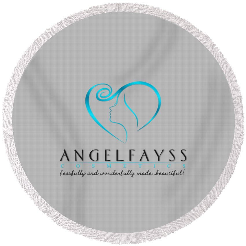 Blue, Black & Grey AngelFayss Round Beach Towel