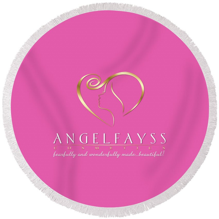 Gold & Light Pink AngelFayss Round Beach Towel