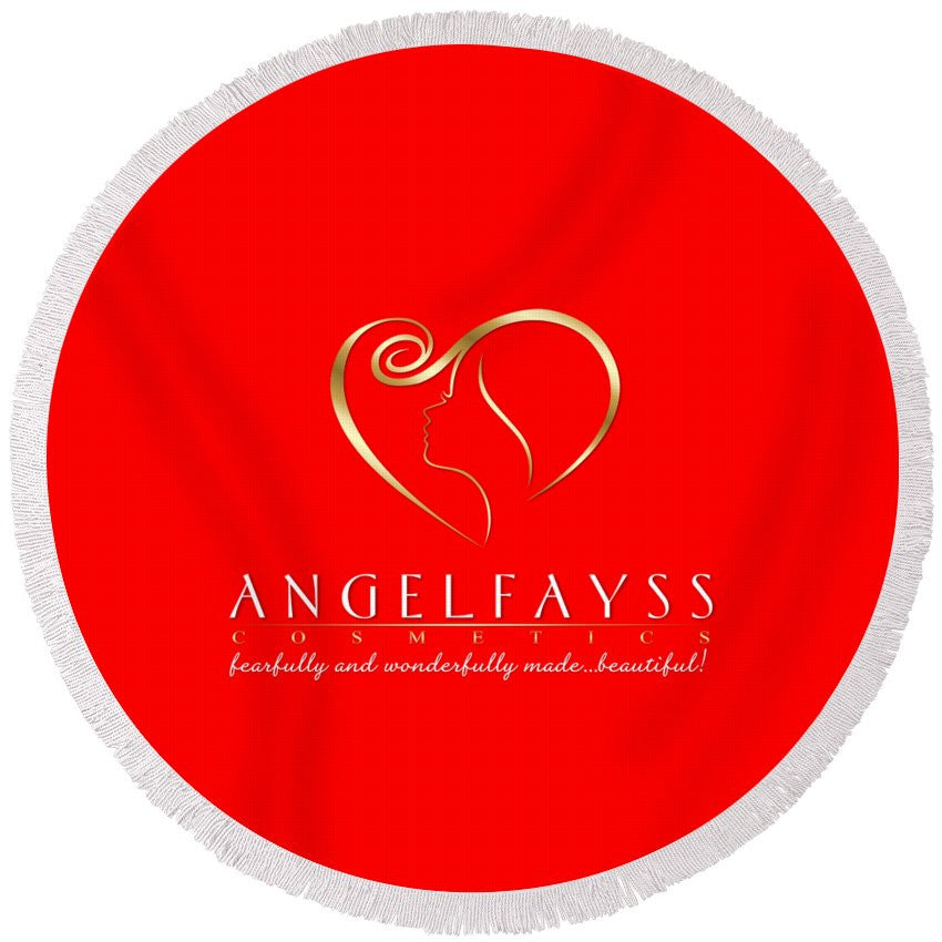 Gold & Red AngelFayss Round Beach Towel