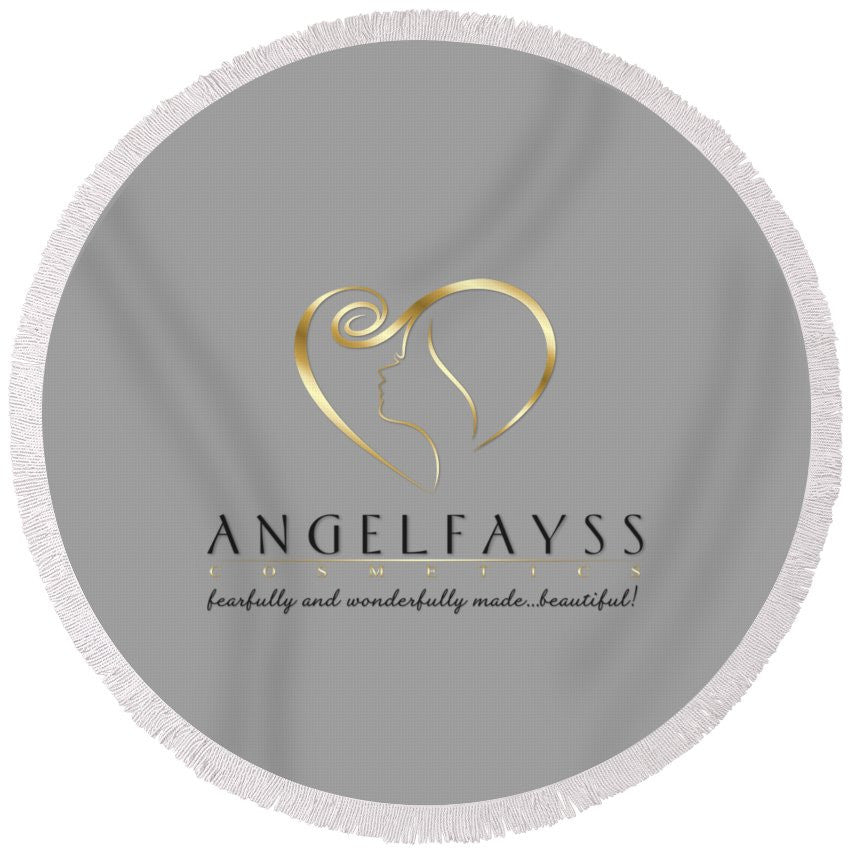 Gold, Black & Grey AngelFayss Round Beach Towel