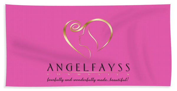 Gold, Black & Light Pink AngelFayss Beach Towel
