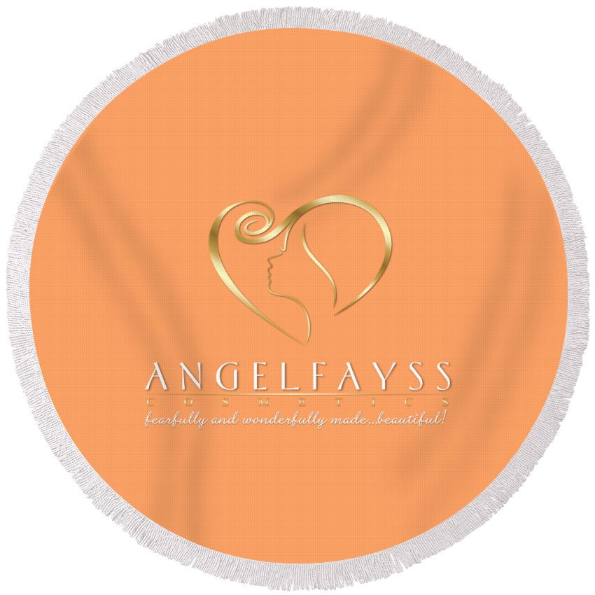 Gold, White & Peach AngelFayss Round Beach Towel
