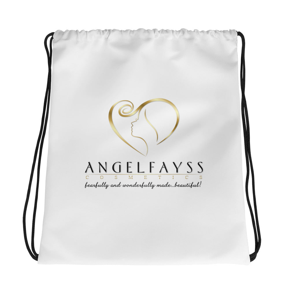 AngelFayss Cosmetics Gold Logo Drawstring Bag