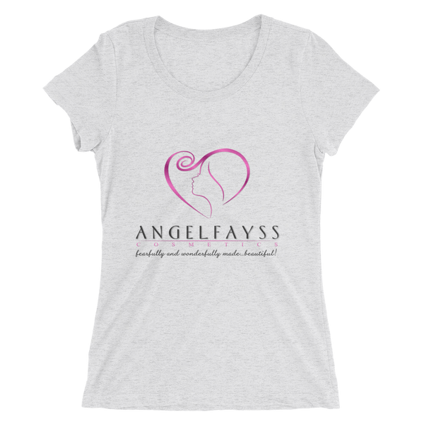 AngelFayss Cosmetics Pink Logo Form Fitting Ladies' T-shirt