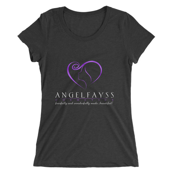 AngelFayss Cosmetics Purple Logo Form Fitting Ladies' T-shirt