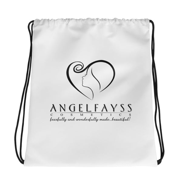 AngelFayss Cosmetics Black Logo Drawstring Bag