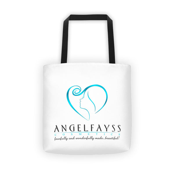 AngelFayss Cosmetics Blue Logo Tote Bag