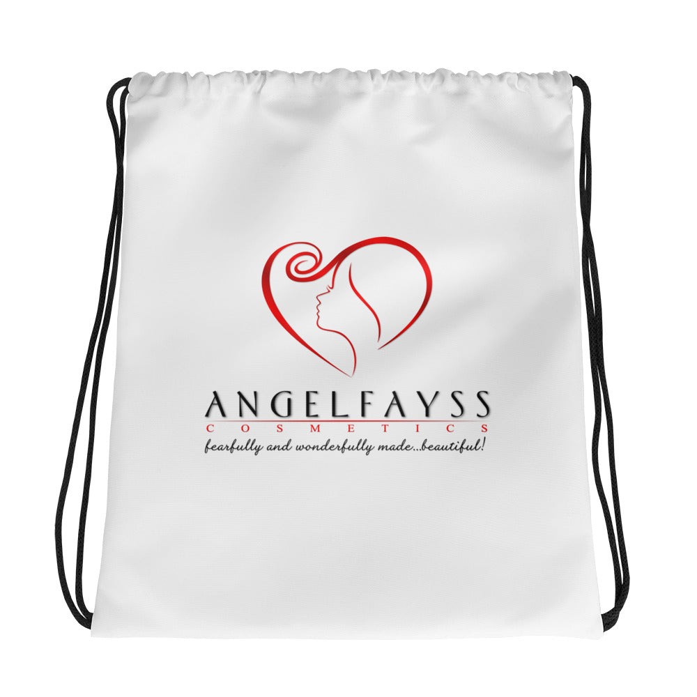 AngelFayss Cosmetics Red Logo Drawstring Bag