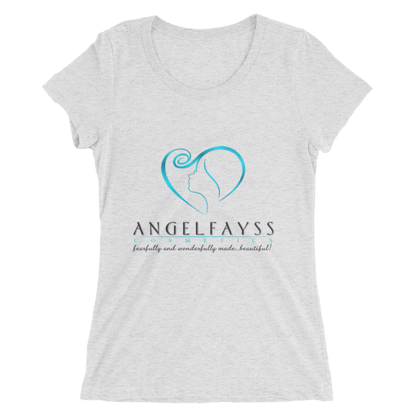 AngelFayss Cosmetics Blue Logo Form Fitting Ladies' T-shirt