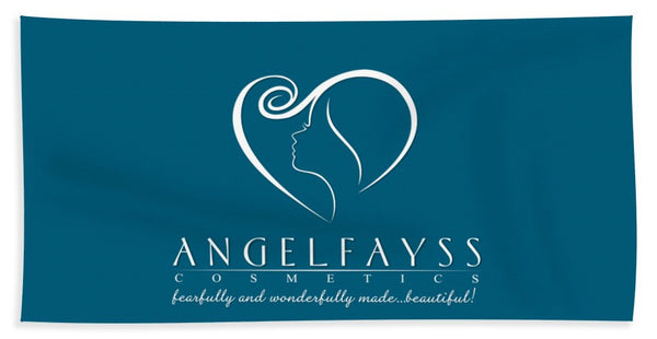 White & Aqua AngelFayss Beach Towel