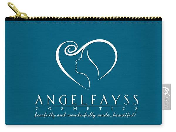 White & Aqua AngelFayss Carry-All Pouch