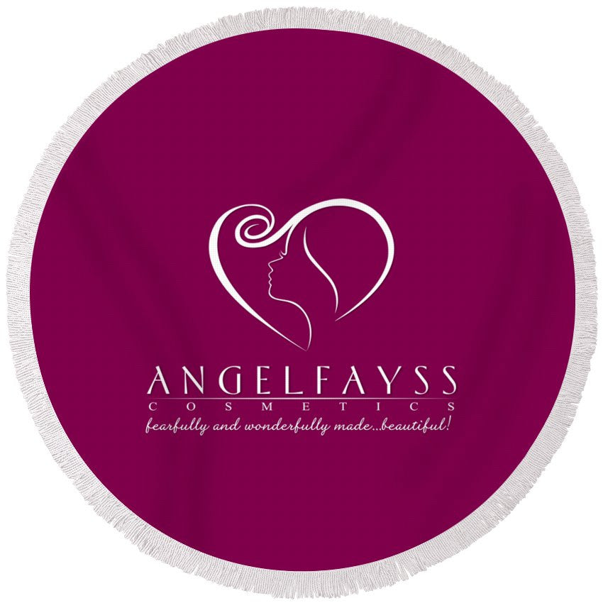 White & Magenta AngelFayss Round Beach Towel