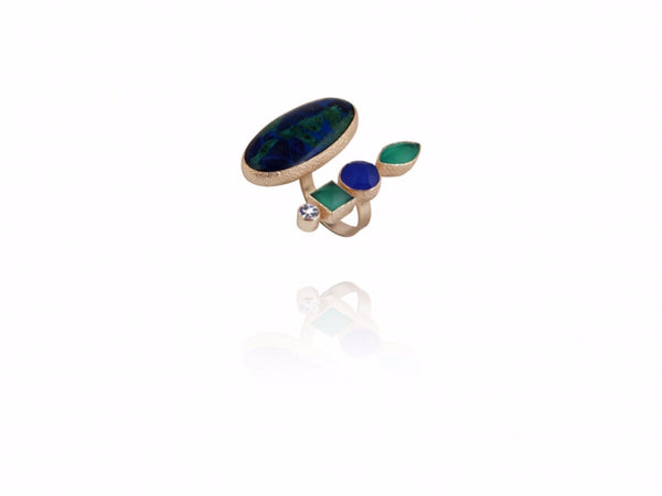 18kt gold plated with  Azurite, Green Onyx, Blue Chalcedony & Zirconia