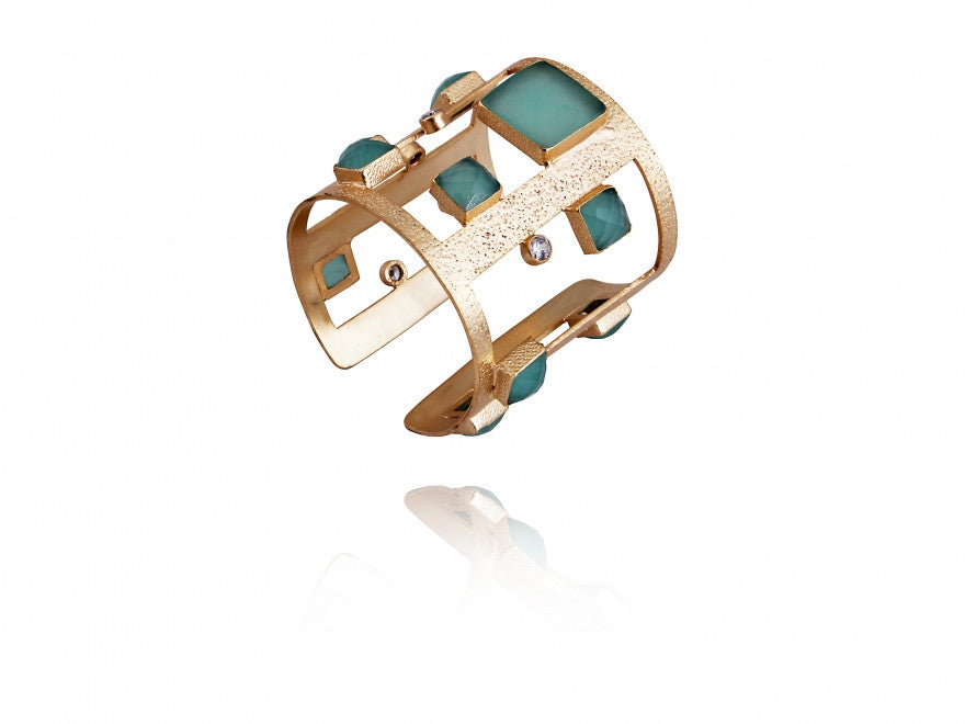 18Kt  Gold Plated with Green Chalcedony & Zirconia Cuff