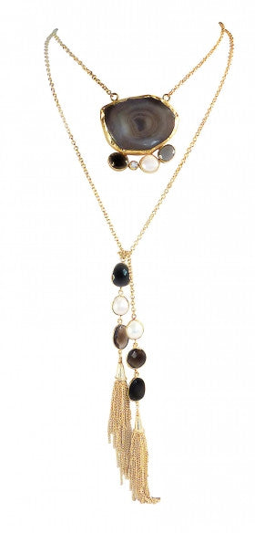 18Kt  Gold Plated with Black Agate, Smoky Topaz, Crystal, Fresh water Pearl, Black Onyx & Zirconia