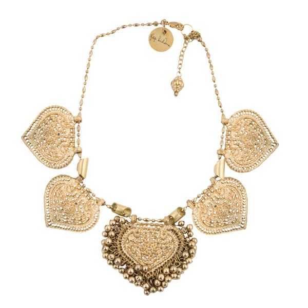 Gold paan leaf and ghungroo necklace