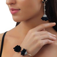 Black Onyx Black Suede Pod Earrings