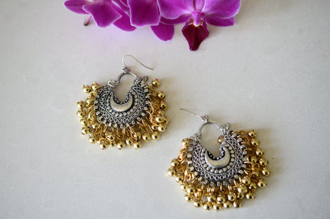 Small ghungroo mixed single crescent earrings