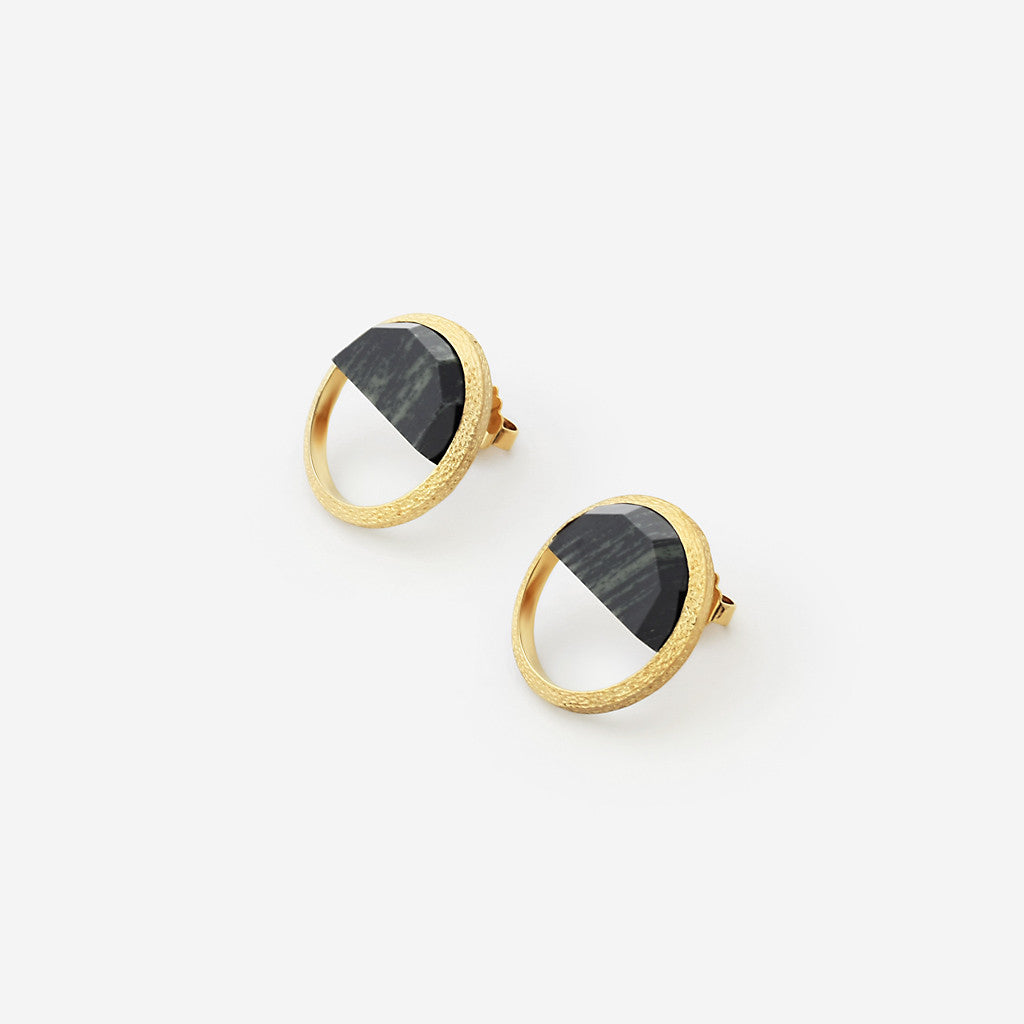 Abstract Mughal Black Jasper Semi Stud Earrings