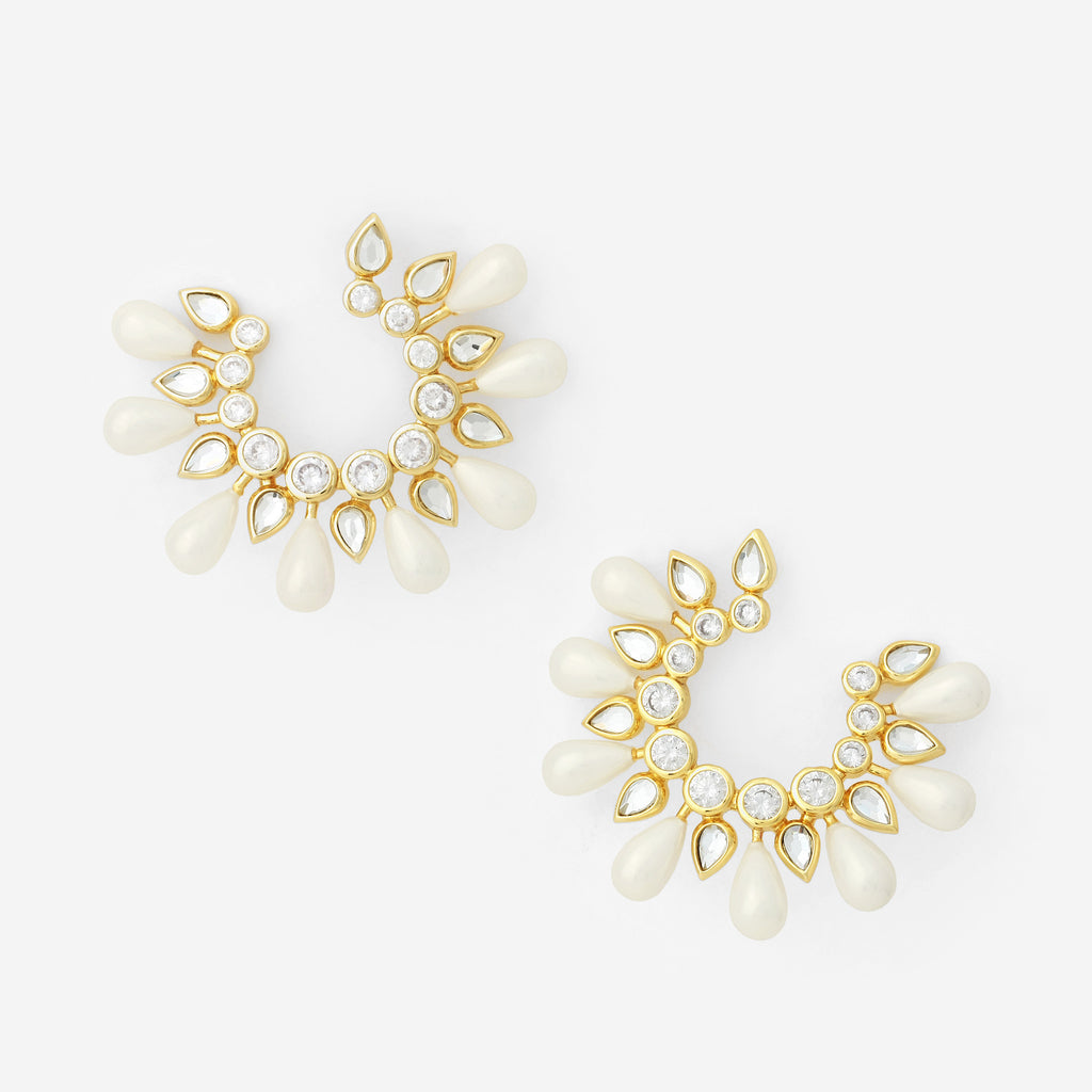 Paradise Dew Pearl Hoop Earrings