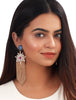Zirconia, rose crystal doublet, labrodite tassel earrings