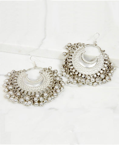 Small silver ghungroo earrings