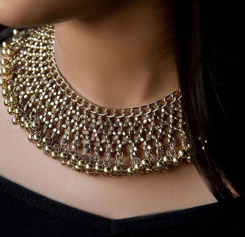 Silver and gold ghungroo necklace