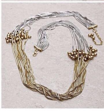 Two tone multi chain necklace
