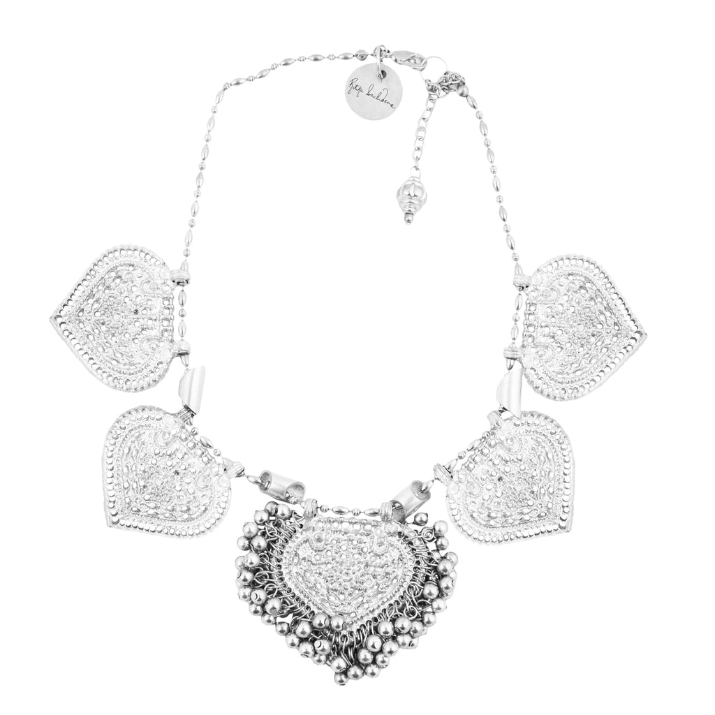 Embossed silver paan leaf necklace