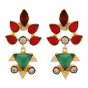 Red & Green geometric earings