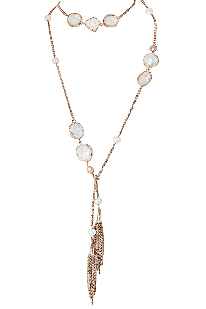 Pearl crystal mist lariat necklace