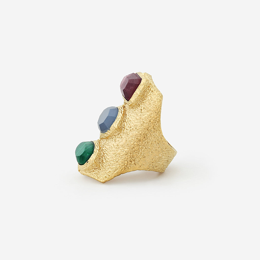Abstract Mughal Three Stone Statement Ring