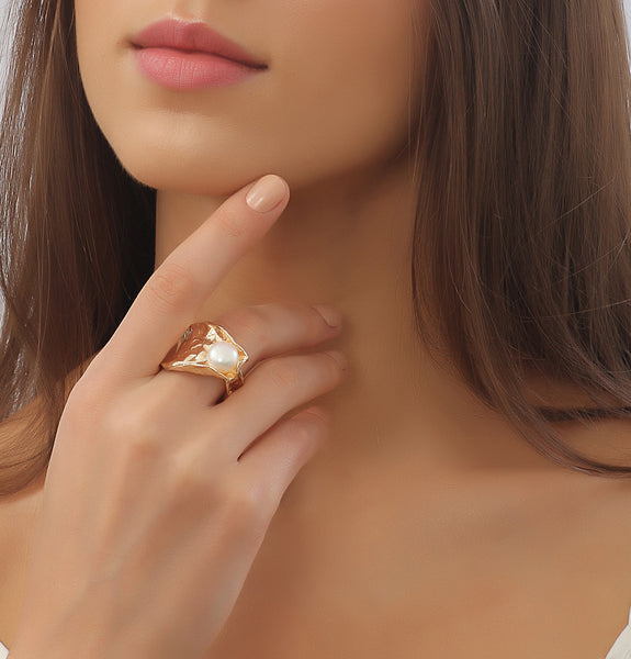 Gold plated & Pearl Ring