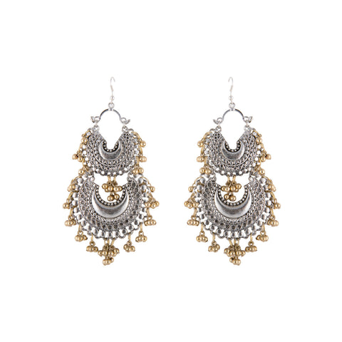 Double Crescent With Ghungroos Earrings